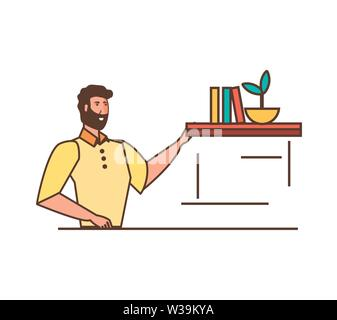 young strong man with shelf and books vector illustration design - Stock Photo