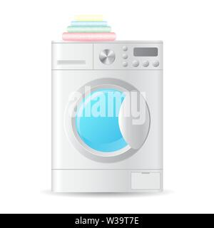 Vector realistic automatic front-loading washing-machine with pile of colorful towels isolated on white background. 3D illustration. - Stock Photo