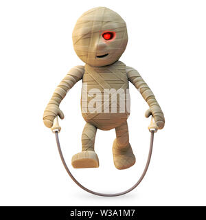 Happy cartoon Egyptian mummy monster is skipping with his rope, 3d illustration render - Stock Photo