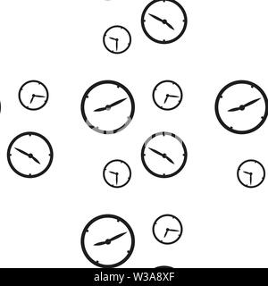 Seamless pattern with clocks showing different time isolated on white background. Vector illustration. eps 10. - Stock Photo