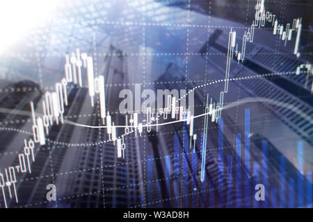 Forex trading, Financial market, Investment concept on business center background. - Stock Photo
