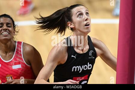 Liverpool, UK. 14 July 2019. Bailey Mes (New Zealand) during the Preliminary game between New Zealand and Singapore at the Netball World Cup. M and S arena, Liverpool. Merseyside. UK. Credit Garry Bowdenh/SIP photo agency/Alamy live news.
