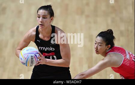 Liverpool, UK. 14 July 2019. Karin Burger (New Zealand) during the Preliminary game between New Zealand and Singapore at the Netball World Cup. M and S arena, Liverpool. Merseyside. UK. Credit Garry Bowdenh/SIP photo agency/Alamy live news.
