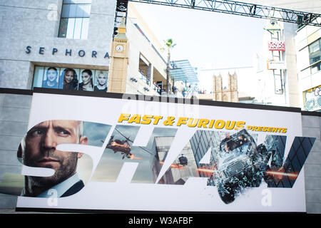 Hollywood, USA. 13th July, 2019. HOLLYWOOD, LOS ANGELES, CALIFORNIA, USA - JULY 13: Atmosphere at the Los Angeles Premiere Of Universal Pictures' 'Fast & Furious Presents: Hobbs & Shaw' held at Dolby Theatre on July 13, 2019 in Hollywood, Los Angeles, California, USA. (Photo by Rudy Torres/Image Press Agency) Credit: Image Press Agency/Alamy Live News - Stock Photo
