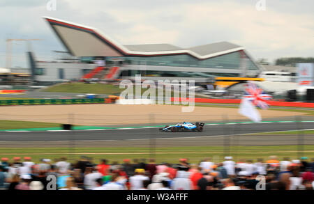 Williams driver George Russell during qualifying for the British Grand Prix at Silverstone, Towcester. - Stock Photo