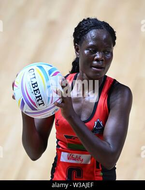 Liverpool, UK. 14 July 2019. Thandie Galleta (Malawi) during the Preliminary game between Malawi and Barbados at the Netball World Cup. M and S arena, Liverpool. Merseyside. UK. Credit Garry Bowdenh/SIP photo agency/Alamy live news.