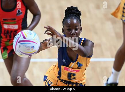 Liverpool, UK. 14 July 2019. Amanda Knight (Barbados) during the Preliminary game between Malawi and Barbados at the Netball World Cup. M and S arena, Liverpool. Merseyside. UK. Credit Garry Bowdenh/SIP photo agency/Alamy live news.