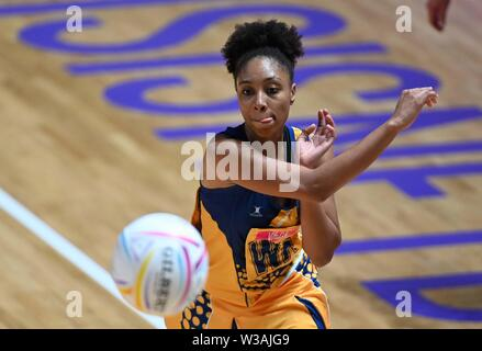 Liverpool, UK. 14 July 2019. Damisha Croney (Barbados) during the Preliminary game between Malawi and Barbados at the Netball World Cup. M and S arena, Liverpool. Merseyside. UK. Credit Garry Bowdenh/SIP photo agency/Alamy live news.