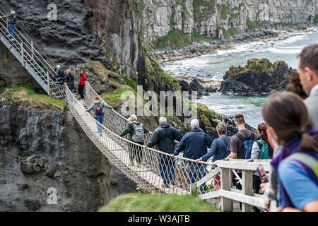 Carrick-a-Rede Rope Bridge, Antrim, Northern Ireland - Stock Photo