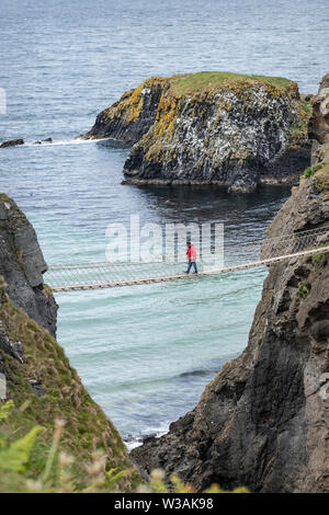Carrick-a-Rede Rope Bridge, Antrim, Northern Ireland - Stock Photo