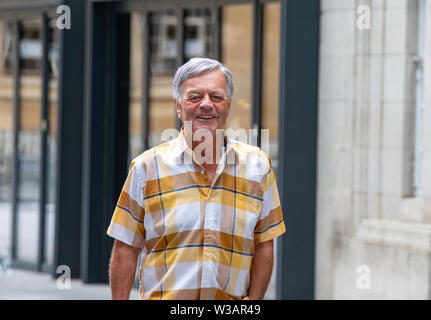 London, UK. 14th July, 2019. Legendary Disc Jockey, Tony Blackburn, arrives at the BBC Studios. Credit: Tommy London/Alamy Live News - Stock Photo