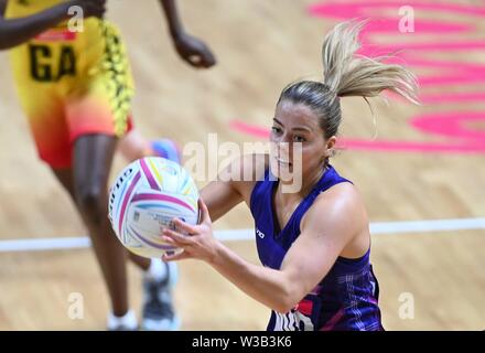 Liverpool, UK. 14 July 2019. Kelly Boyle (Scotland) during the Preliminary game between Uganda and Scotland at the Netball World Cup. M and S arena, Liverpool. Merseyside. UK. Credit Garry Bowdenh/SIP photo agency/Alamy live news.