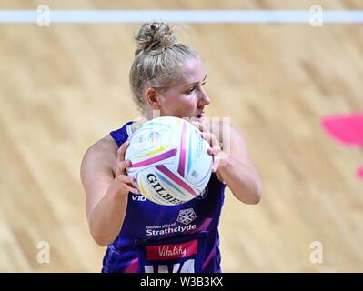 Liverpool, UK. 14 July 2019. Nicola McCleery (Scotland) during the Preliminary game between Uganda and Scotland at the Netball World Cup. M and S arena, Liverpool. Merseyside. UK. Credit Garry Bowdenh/SIP photo agency/Alamy live news.
