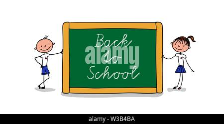 Blackboard with handlettering Back to school held by a schoolgirl and a schoolboy in uniform - hand drawn vector illustration - Stock Photo