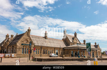 Exterior of Listed Building of the disused Promenade Station in Morecambe, Lancashire now the Platform entertainment complex.