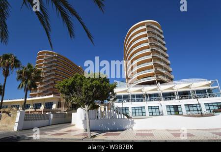 Hotel tower blocks  on Torremolinos seafront. - Stock Photo