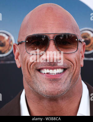HOLLYWOOD, LOS ANGELES, CALIFORNIA, USA - JULY 13: Actor Dwayne Johnson arrives at the World Premiere Of Universal Pictures' 'Fast & Furious Presents: Hobbs & Shaw' held at Dolby Theatre on July 13, 2019 in Hollywood, Los Angeles, California, USA. (Photo by Xavier Collin/Image Press Agency) - Stock Photo