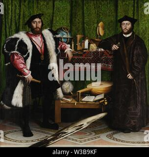 The Ambassadors (1533) painting by Hans Holbein the Younger - Very high resolution and quality image - Stock Photo