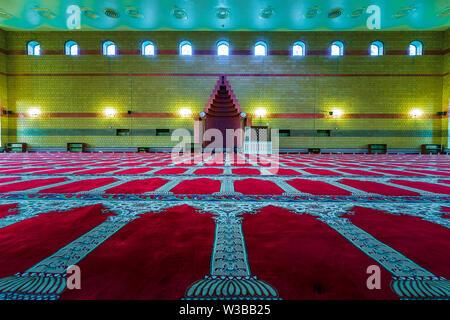 Beautiful Masjid in Dammam inside view. City Dammam, Saudi Arabia photo taken month of November 02 year 2018. - Stock Photo