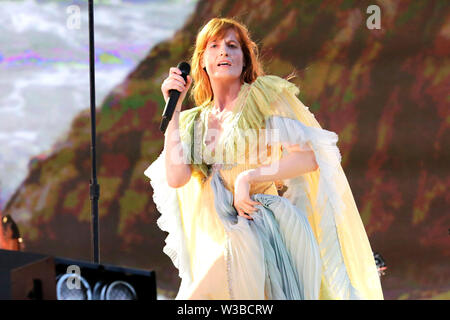 Florence Welch of Florence + The Machine performs on stage as Barclaycard present British Summer Time Hyde Park on Saturday 13th July 2019. - Stock Photo