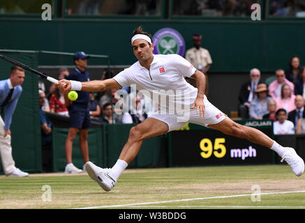 London, UK. 14th July, 2019. Roger Federer of Switzerland competes during the men's singles final match between Novak Djokovic of Serbia and Roger Federer of Switzerland at the 2019 Wimbledon Tennis Championships in London, UK, July 14, 2019. Credit: Lu Yang/Xinhua/Alamy Live News - Stock Photo