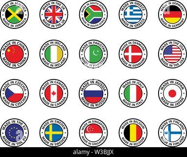 Set of flat icon flags - Stock Photo