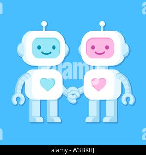 Cute cartoon robots in love. Robot couple, male and female, with heart symbol. Vector clip art illustration. - Stock Photo