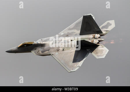 Lockheed Martin F-22A Raptor seen here during its display at RAF Fairford - Stock Photo