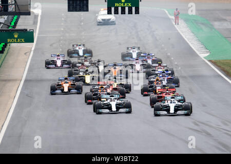 Silverstone, UK.  14th July, 2019. A general view of the race during Formula 1 Rolex British Grand Prix 2019 at Silverstone Circuit on Sunday, July 14, 2019 in TOWCESTER, ENGLAND. Credit: Taka G Wu/Alamy Live News - Stock Photo