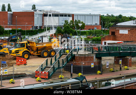 The construction of the extension to Castle Quay shopping centre, Banbury, Oxfordshire in the early stages of development. 01.07.2019 - Stock Photo