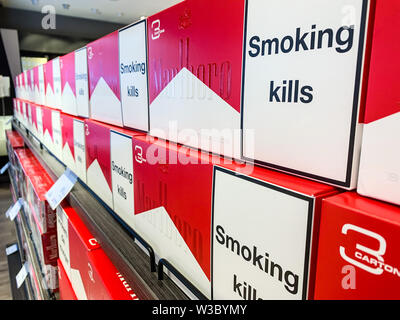 Cigarettes department at a duty free segment store with many pick packs on sale. Concept of duty free shops. Istanbul/ Turkey - April 2019 - Stock Photo