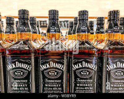 Row of Jack Daniels Whiskey bottles on a store shelf, selective focus. Istanbul, Turkey - April 2019 - Stock Photo