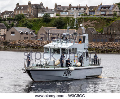 HMS Puncher at Wick Harbour, Caithness, Scotland - Stock Photo