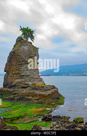View of the Siwash Rock taken at Stanley Park seawall trail in Vancouver, BC - Stock Photo