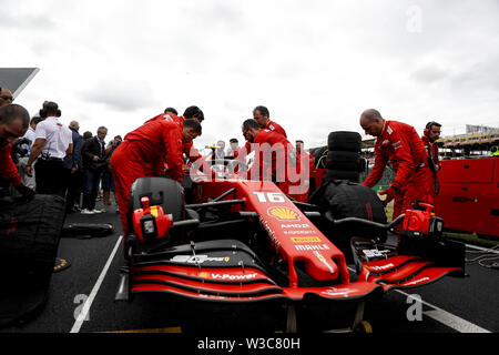 Silverstone, UK. 14th July, 2019. CHARLES LECLERC of Scuderia Ferrari before the Formula 1 British Grand Prix at Silverstone Circuit. Credit: James Gasperotti/ZUMA Wire/Alamy Live News - Stock Photo