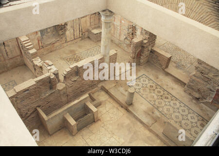 Archaeological Ruins Inside a Residential Home in Ephesus, Turkey - Stock Photo