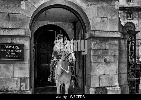 London, UK - July 14, 2019:Mounted Queens Life Guards Outside The Horse Guards Building - Stock Photo