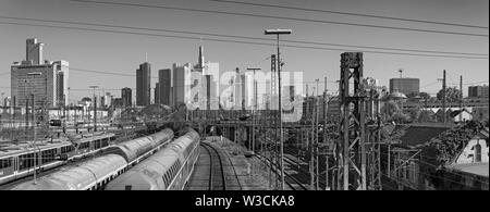Skyscrapers and the railway aerial of frankfurt am main central station in black and white - Stock Photo