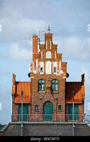Lotsenhaus am Hafen, Hansestadt Stralsund, Mecklenburg-Vorpommern, Deutschland - Stock Photo