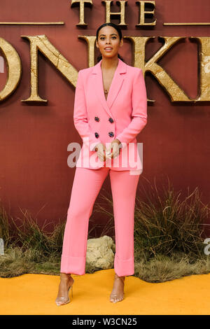 London, UK. 14th July 2019. Rochelle Humes poses on the yellow carpet at the European premiere of Disneys 'The Lion King' on Sunday 14 July 2019 at ODEON LUXE Leicester Square, London. . Picture by Julie Edwards. Credit: Julie Edwards/Alamy Live News - Stock Photo