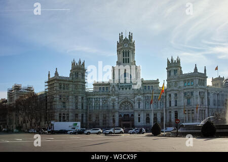 MADRID, SPAIN - JANUARY 24, 2018: Palace of Cibeles at Cibeles square in City of Madrid, Spain - Stock Photo