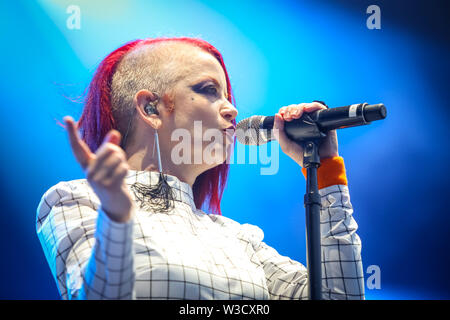 Zagreb, Croatia - 25th June, 2019 : Garbage performs on the 14th INmusic festival located on the lake Jarun in Zagreb, Croatia. - Stock Photo