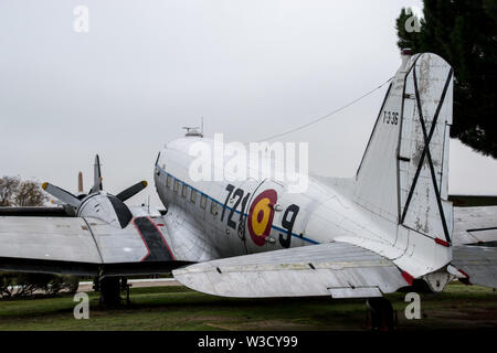 A Spanish Air Force C-47 located in the Museo del Aire, Madrid, Spain - Stock Photo
