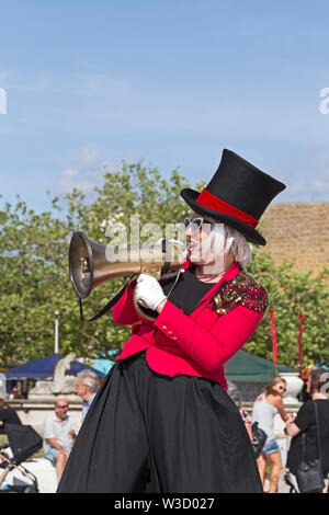 Stiltwalker Catherine Rock at the Whirligig Festival in Weston-super-Mare, UK on 13 July 2019. - Stock Photo