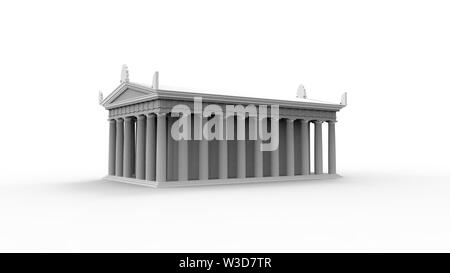 3d rendering of an anchient greek temple isolated in white studio background - Stock Photo