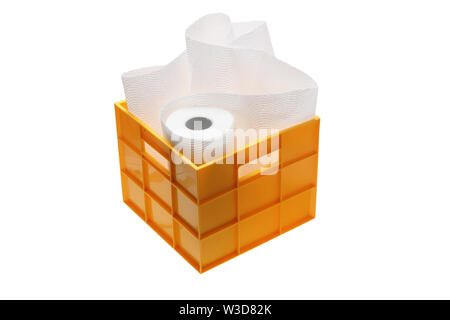 Paper Towel in Storage Box on White Background - Stock Photo