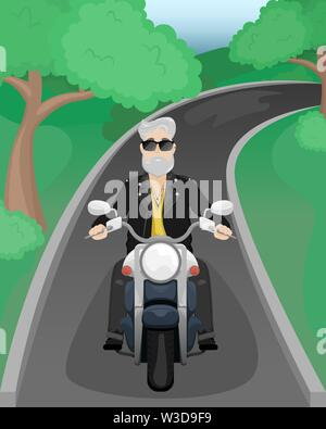 A man with gray hair and a beard on a motorcycle. A man in sunglasses and a leather jacket. Flat vector cartoon illustration - Stock Photo