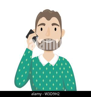 A man with a beard in a sweater over his shirt talking on a mobile phone. Flat vector isolated illustration. - Stock Photo