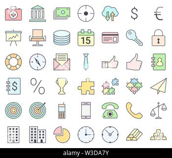 Business simple thin icon set, filling with pastel colors, isolated on white background - Stock Photo