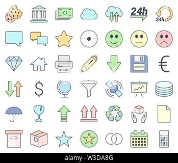 Web design, SEO and development thin line vector icon set, filling with pastel colors,  isolated on white background. - Stock Photo